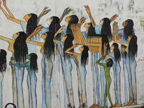 Le mur de la rue Mohammad Mahmoud illustrant des thèmes pharaoniques peints par Alaa Awad (21 février 2012)